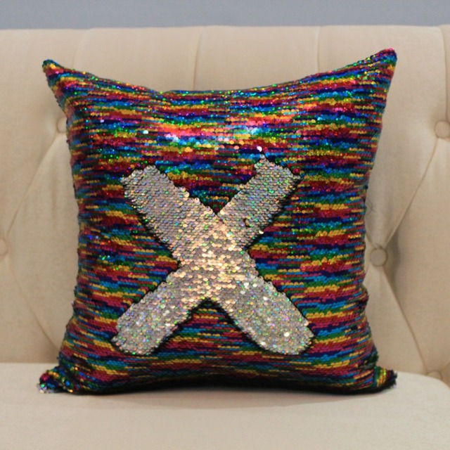 Double Color Sequin Cushion Cover