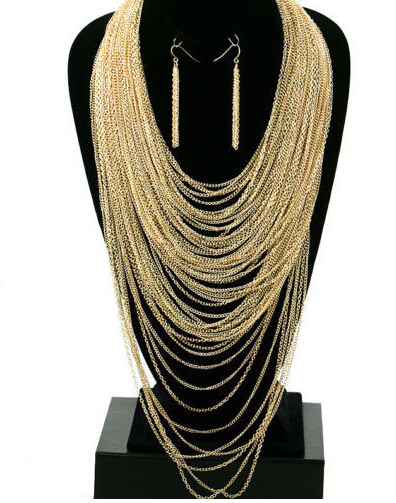 New Gold THIN DRAPE LAYERED Statement Necklace & Earrings, free shipping