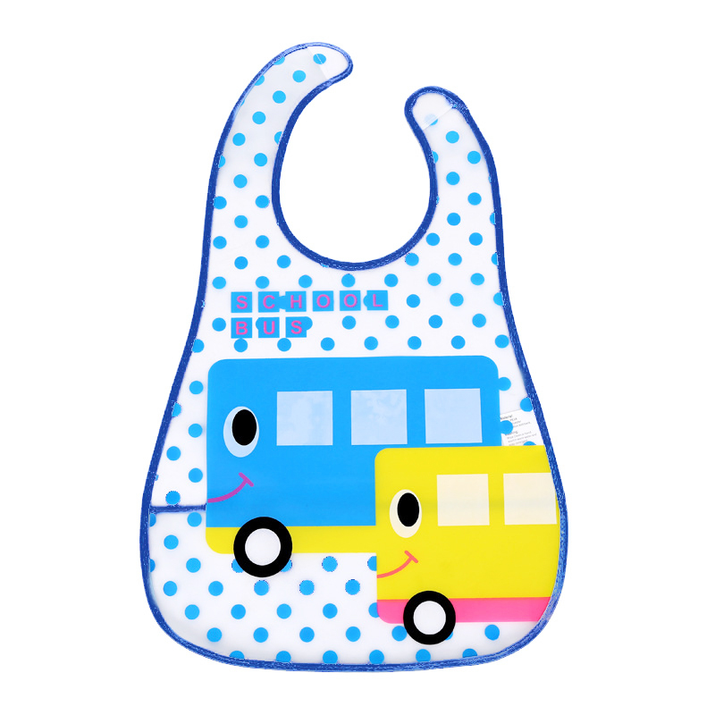 KEOL Best Sale Baby Infant Kid Translucence Soft EVA Bib/Saliva No-wash Towel Waterproof(blue car)