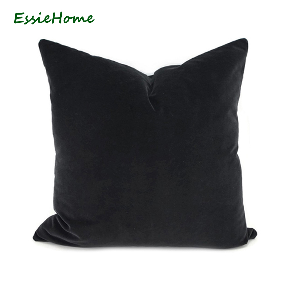 ESSIE HOME Luxury Matte Cotton Velvet Black Velvet Cushion Cover Pillow Case Lumbar Pillow Case