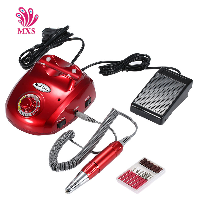 Red electric nail drill machine professional pedicure machine electric manicure set nail cutter with nail drill bits excellet value 1 pc blue medium 3 32 white ceramic nail drill bit manicure professional electric manicure cutter nail tools