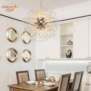 Image 4 - 現代クリスタルシャンデリア照明グローブクリスタルシャンデリアライトラウンドホームレストランの装飾用のランプ備品ハンギング