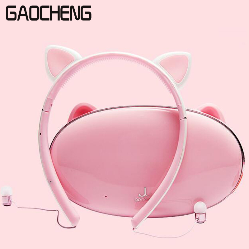 Wireless cat ear Headset Detachable Foldable Flashing Glowing bluetooth Gaming Headphone Earphone with Mic LED light each g8200 gaming headphone 7 1 surround usb vibration game headset headband earphone with mic led light for fone pc gamer ps4