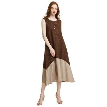 c4e648641b69a80 Женские платья, летнее платье в винтажном стиле, без рукавов, с круглым  вырезом, с цветочным принтом, Повседневное платье до середины икры, .
