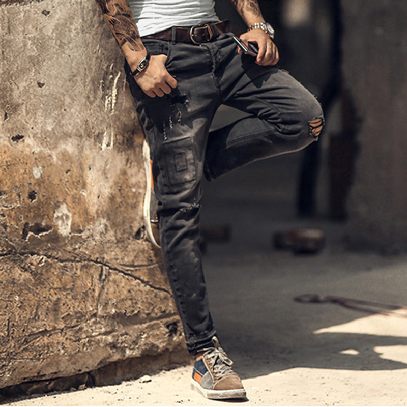 Mens retro casual ripped black jeans  1