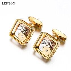 Venda quente quadrado steampunk engrenagem abotoaduras lepton mecanismo relógio manguito links para homens negócios casamento abotoaduras relojes gemelos