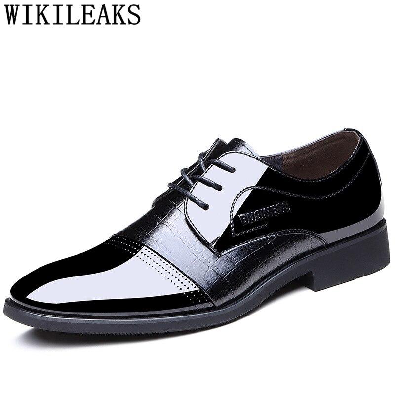 marron Oxford Hombre Vestir Zapatos De Robe Italien Hommes Pour Buty Verni Formelle Cuir Coiffeur Chaussures En Noir PxaxqR40