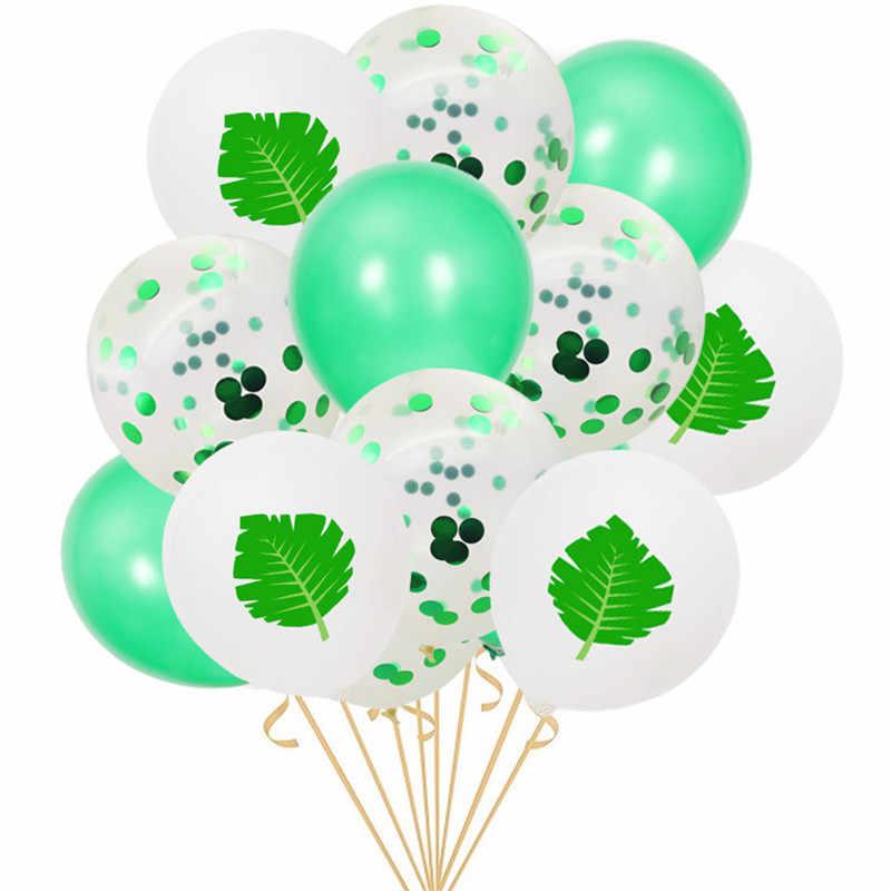 15 pcs 12 นิ้วพิมพ์ Flamingo & Sequins ทอง Confetti บอลลูนฤดูร้อนตกแต่งบอลลูนวันเกิดสับปะรดบอลลูน