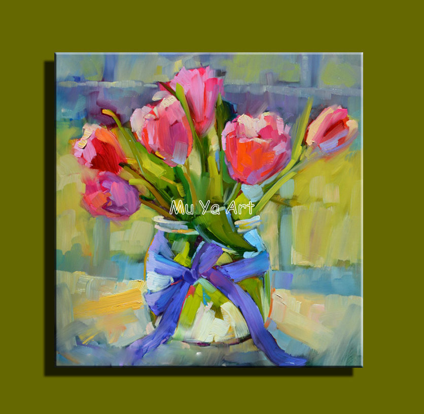 Abstract modern canvas wall handpainted font b knife b font paint flower tulip oil painting on