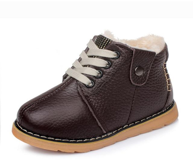 Promoción Libre del envío de Los Niños antideslizantes Bebé Botas de Invierno de Cuero Genuino Niños Zapatillas de deporte de Niño Infantil Baby Boy/Girl zapatos