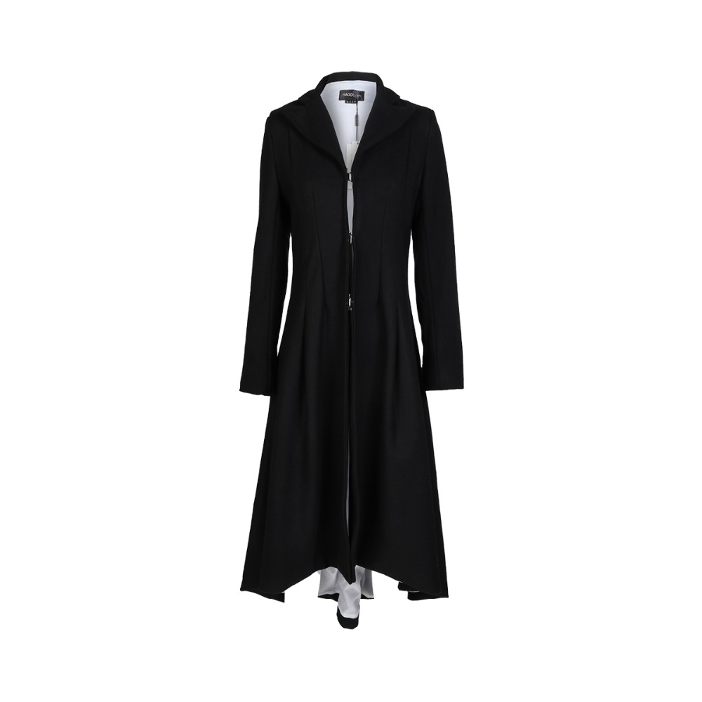 Women Coats Autumn winter swallowtail Black long Trench Dovetail Plus Size 5XL 6XL Female Wool Coat jackets Outwear 4