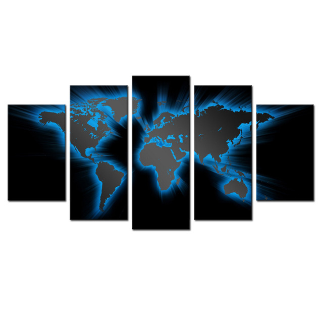 World map mural modern abstract painting wall decor art canvas world map mural modern abstract painting wall decor art canvas 5pcs picture historical world map poster gumiabroncs Gallery