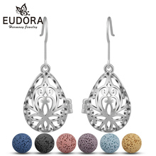 EUDORA 12mm Copper Water Drop Fashion Dangle Earring Lava Stone Beads Earrings Aromatherapy Essential Oil Diffuser Hook