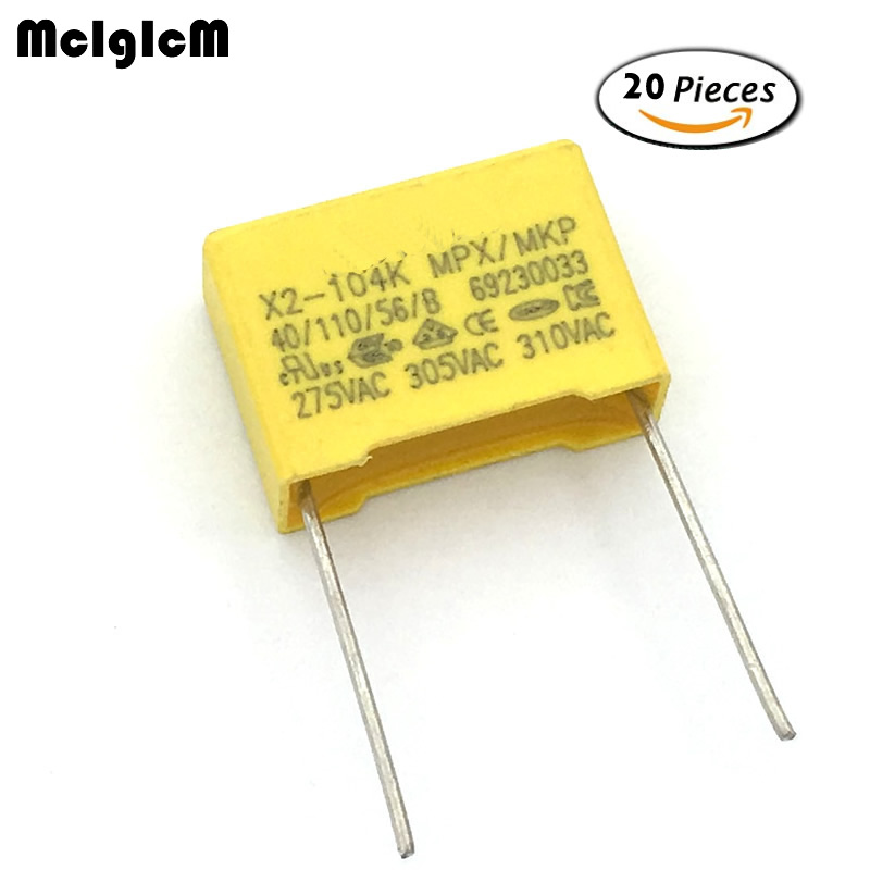MCIGICM 20pcs 100nF Capacitor X2 Capacitor 275VAC Pitch 15mm X2 Polypropylene Film Capacitor 0.1uF