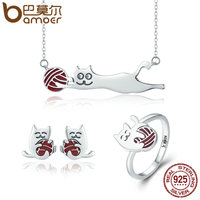 BAMOER 100 925 Sterling Silver Set Naughty Little Cat Necklace Earrings Ring Jewelry Sets Sterling Silver