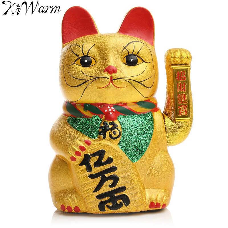 KiWarm Lucky Feng Shui Electric Waving Cat Beckoning Golden Ceramics Lucky Cat Powered by Battery Wealth Prosperity Crafts 21cm