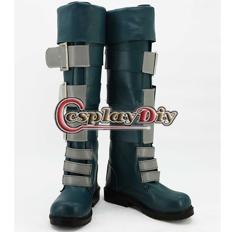 ФОТО LOL Cosplay Slayer Jinx the Loose Cannon Dark Green Shoes Men's Game Cosplay Boots Buckle Turned Over Edge Boots