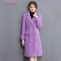 2017 Autumn And Winter New Korean Version Of The Lapel Loose Thin Hair Coat Double Breasted