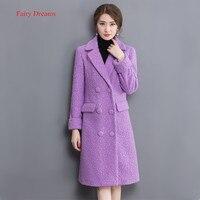 פיות חלומות מעיל חורף צמר נשים 2017 סגנון חדש סגול Casaco Feminino מוצק מעיל ארוך אדרת קוריאני בגדי אופנה