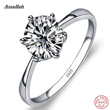 Ataullah New Classic 1 Carat Round Brilliant Cut 925 Sterling Silver SONA Simulation Diamond Engagement Ring For Women RWB016(China)
