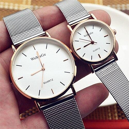 Fashion Womage Man Lovers Reloj Mujer Brand Luxury Mesh Stainless Steel Mesh Strap Watches Quartz Fashion Women Relogio Feminino