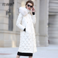 Good Quality 2017 Real Fur With Hooded Coats Brand Jacket Long Women's Winter Duck Down Jacket Women White Thick Warm Coat