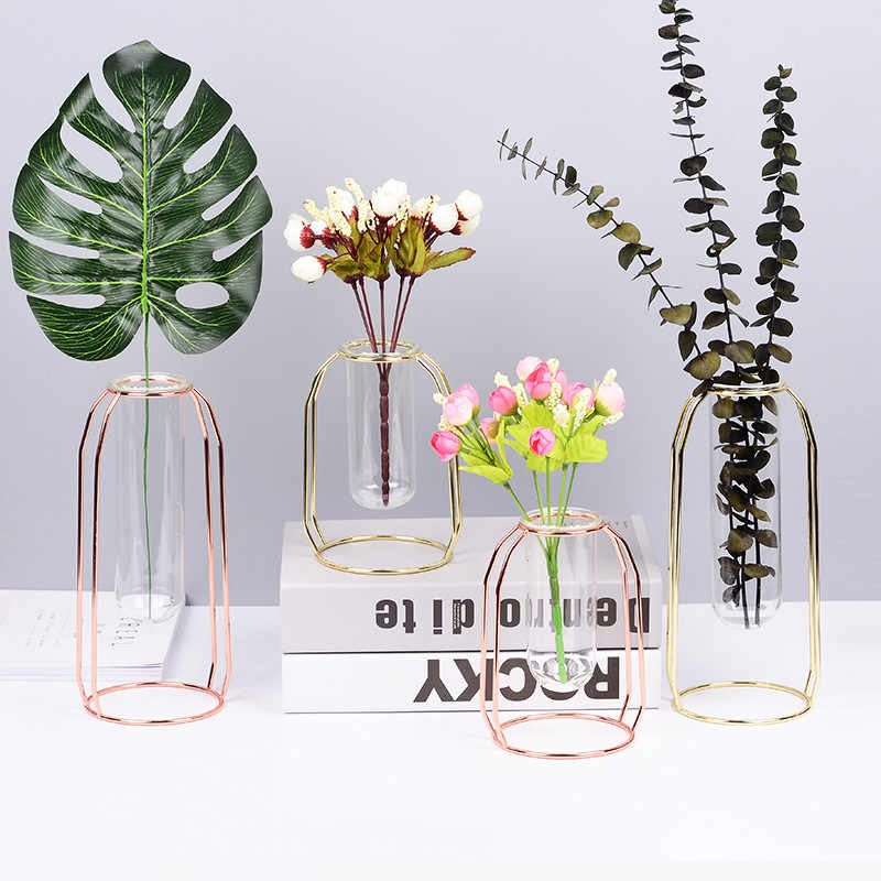 Nordic Style Glass Iron Simple Art Vase Geometric Shape Vase Luxury 1Set Home Decoration Bedroom Accessories