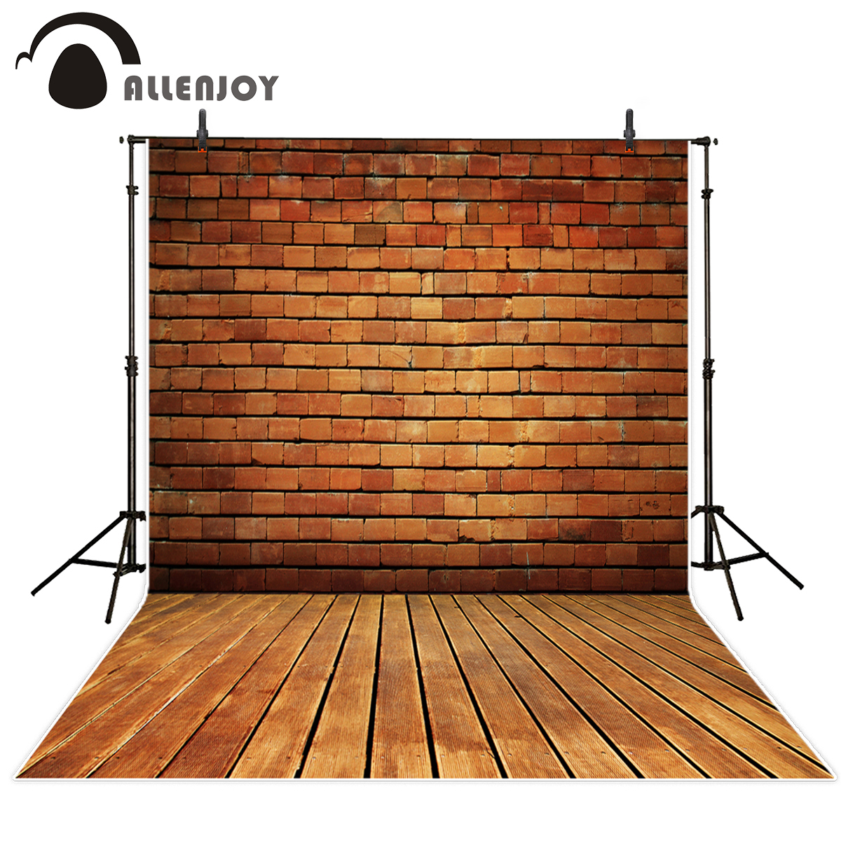 Allenjoy photography background vintage brick wall wood floor professional photo studio theme backdrop camera fotografica 5x10ft 1 5x3m vivid brick wall and weathered wood floor printed studio photography backdrop background for photo studio n 014
