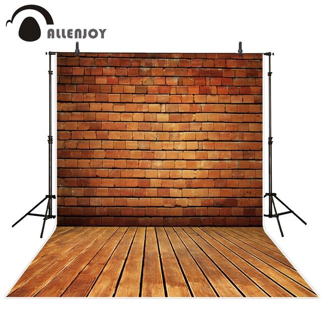 Allenjoy photography background vintage brick wall wood floor  professional photo studio theme backdrop camera fotografica