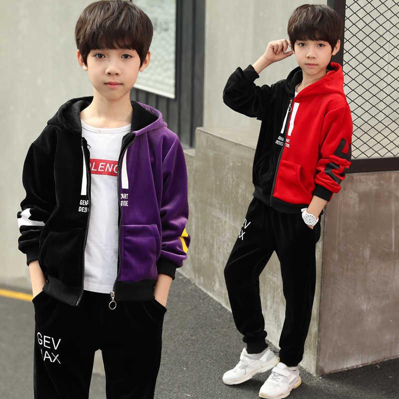 cf6df33a Children Clothing 2019 Spring Autumn Kids Boys Clothes Velvet Hoodies+Pant 2pcs  Kids Tracksuit Sport