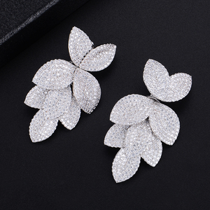 Image 1 - GODKI  Celebrity Favorite Luxury Leaf Leaves Flower Collection Full Micro Cubic Zirconia Paved Wedding Bridal Earring For Women