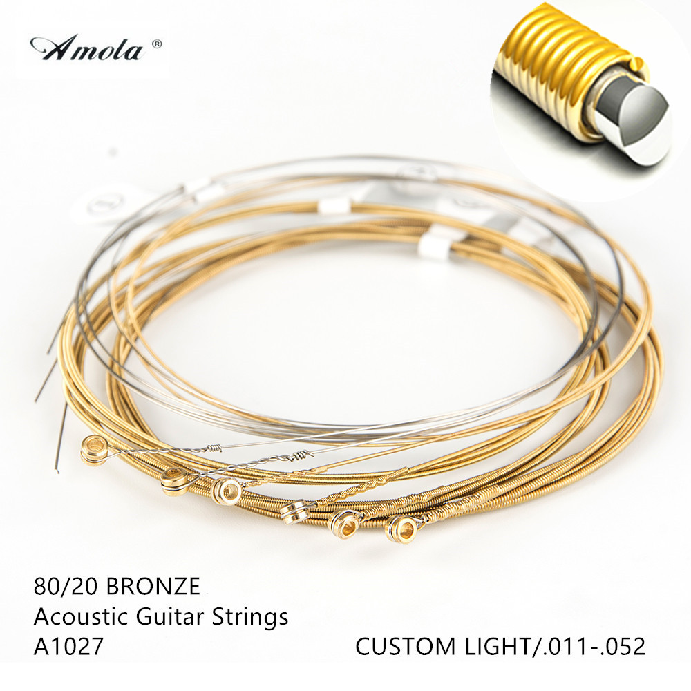 Acoustic Guitar Strings Steels Amola Original A1027 011-052 Accessories Parts Wound Custom Light 80/20 Bronze Coating 2 sets
