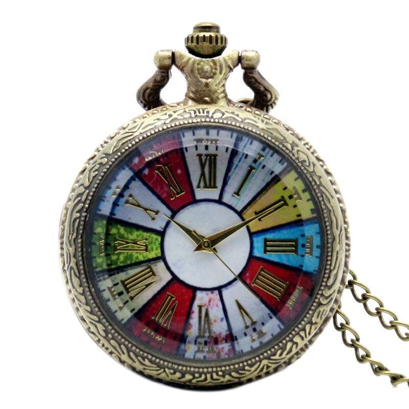 Antique Style Roman Number Colorful Dial Pocket Watch Vintage Pendant Long Chain Steampunk Necklace Retro Gift Men Women