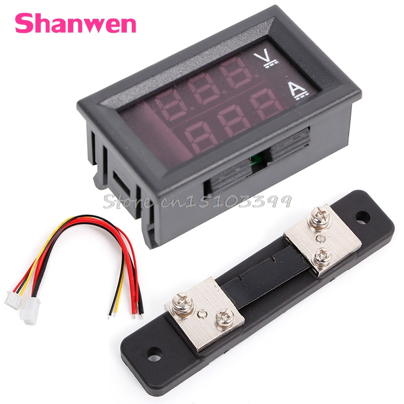 0-100V / 50A Rödblå Digital Voltmeter Ammeter 2in1 DC Volt Amp Meter W / Shunt G08 Whosale & DropShip