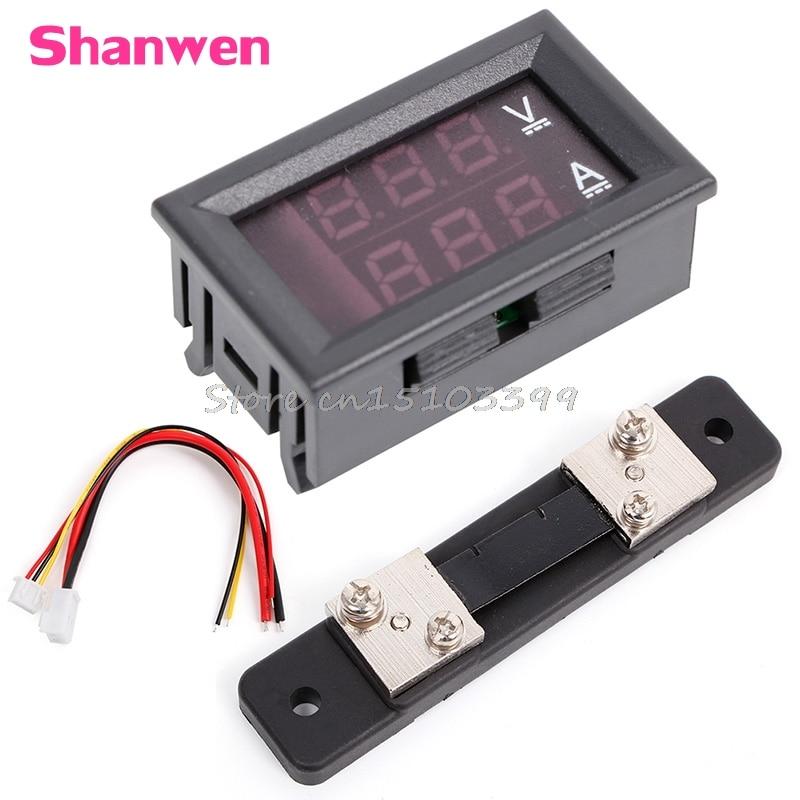 0-100V / 50A Voltímetro digital rojo azul Amperímetro 2in1 DC Volt Amp Meter W / Shunt G08 Whosale & DropShip