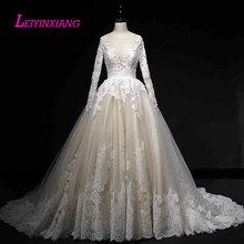 a84499ab5c LEIYINXIANG New Arrival suknia ślubna Vestido De Noiva nowy nabytek Robe de  Mariee nowoczesne seksowna suknia balowa styl aplika.
