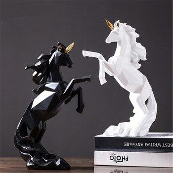 Nordic Abstraction Origami Geometry Jump Unicorn Resin Statue Creative Study Room Office Desktop Decoration Figurines X2054
