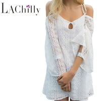 2017 Summer New  Sexy Women Holiday Beach Dresses Off Shoulder White Strappy Off Shoulder Lace Crochet LC42158