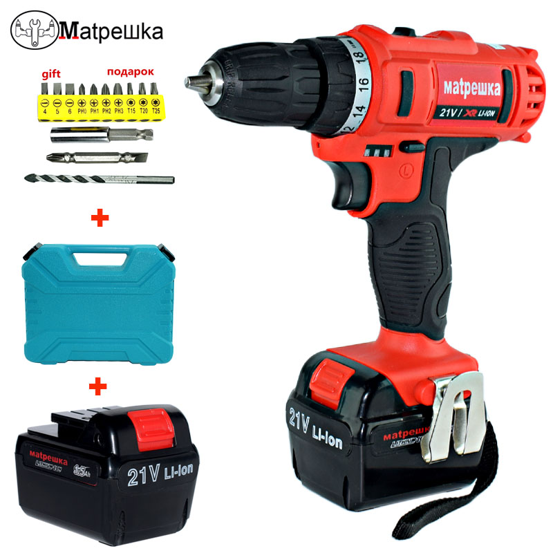21V  Electric Screwdriver 2 Batteries Plastic box Mini Cordless Rechargeable Drill Lithium-ion Battery Power Tools 1 pc 18v 4000mah rechargeable battery pack power tools batteries replacement cordless for bosch drill bat610 li ion