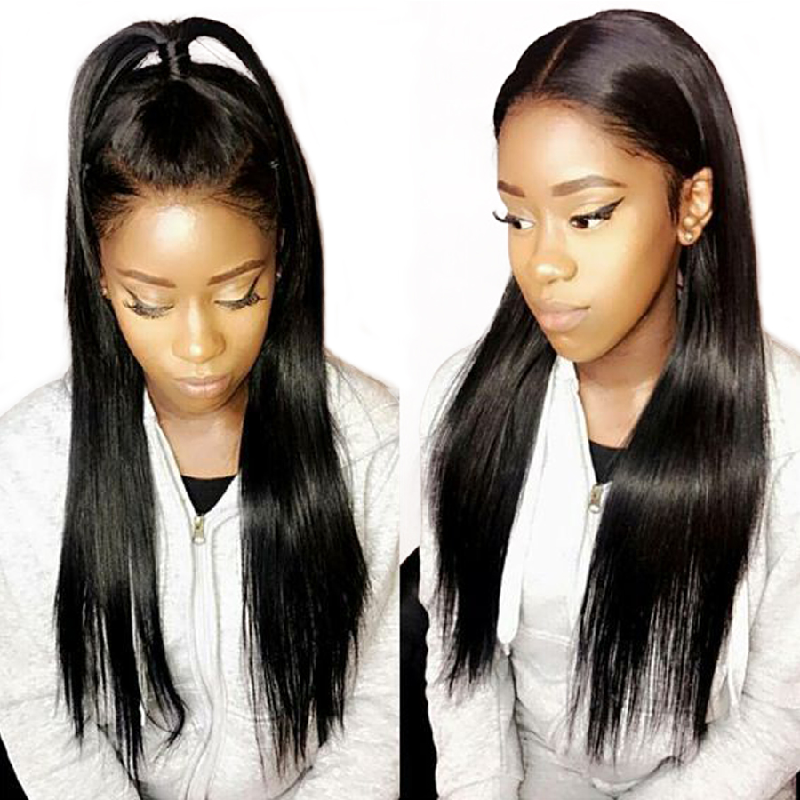 RUIYU Hair 360 Lace Frontal Wig Pre Plucked With Baby Hair Straight Lace Wigs For Black