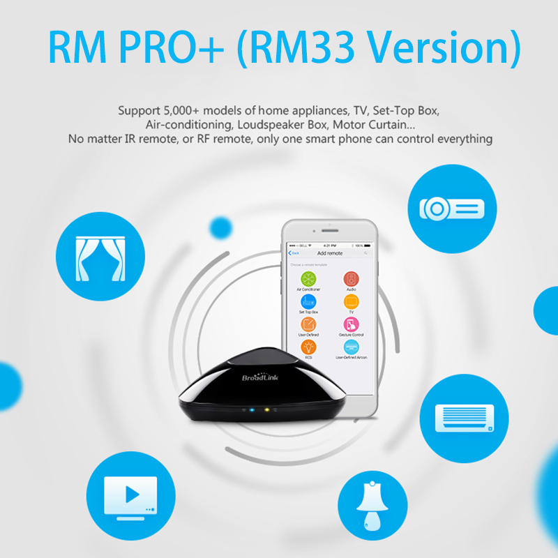 2018 Broadlink RM Pro+ WIFI+IR+RF Universal Intelligent Remote Control Switch for iphone IOS Android Smart home Automation broadlink rm pro universal ir remote control smart 433 rf remote compatible alexa for apple xiaomi smartphone home automation