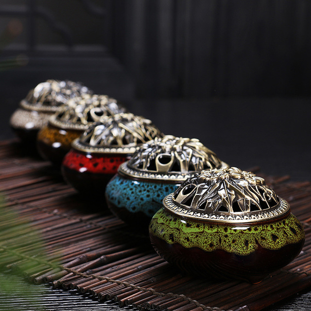 Ceramic Buddha incense antique burner home decor