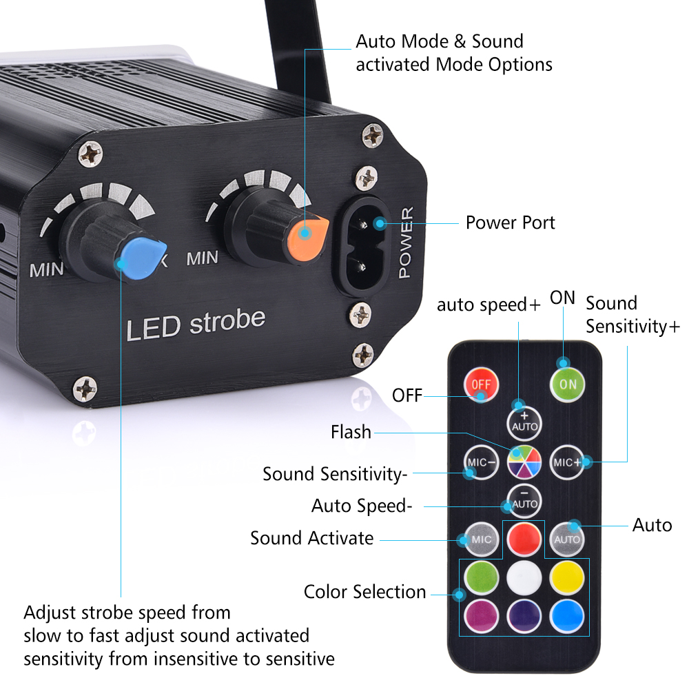 Strobe Stage Light Disco Bar Music Party 48 RGB Remote Control Mini Stage Lights Festival Glow Party Supplies Carnival Lighting (8)