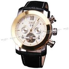 Мужчины мода благородный роскошный золотой механические наручные часы краткий платье турбийон ремень из натуральной кожи подарок на юбилей + коробка