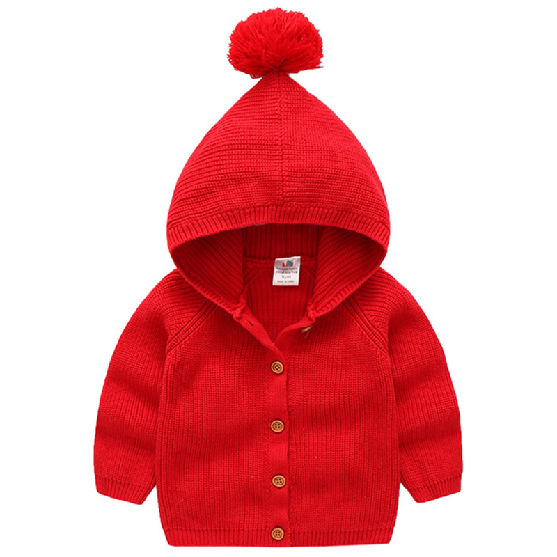 Baby Knitted Cardigans 2018 New V-Neck Single-Breasted Hooded Boys Girls Cardigan Sweaters Kids Knitwear Coat Children's Sweater все цены