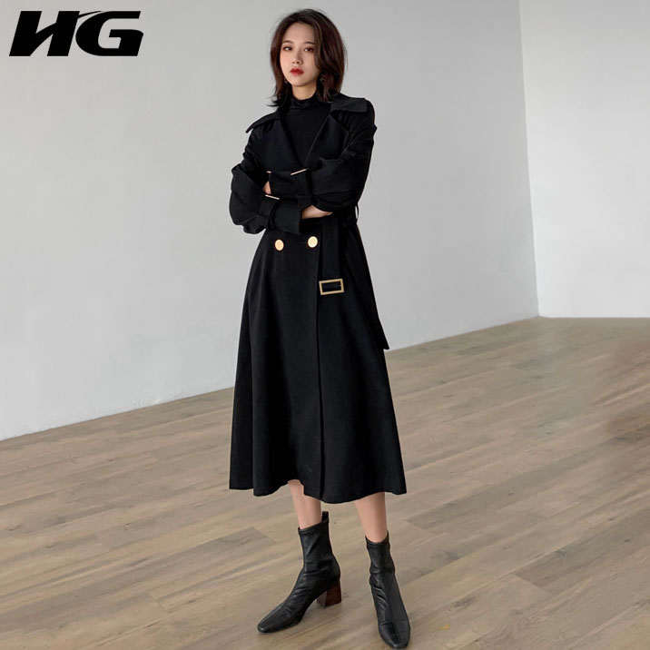 [HG] Double-breasted Fashion New Women 2019 Spring Summer Solid Color A-line Bandage Patchwork Pocket Loose   Trench   WBB1928