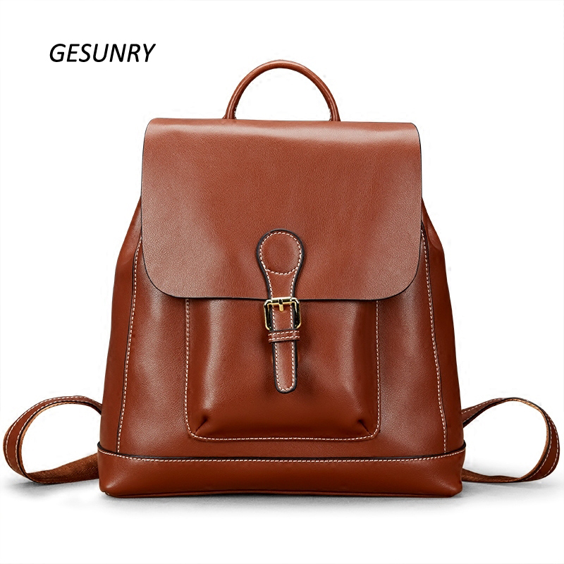 Vintage Women Backpack Soft Skin 100% Genuine Cowhide Leather Fashion Ladies Travel Bags Preppy Schoolbag mochila mujer