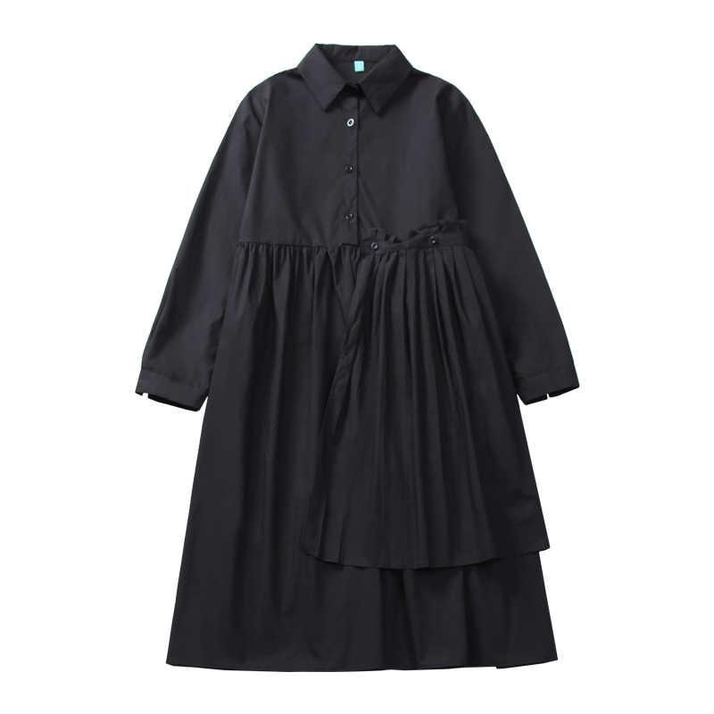 2019 осенне-зимнее женское корейское модное свободное платье-рубашка с длинными рукавами и отложным воротником женские платья сплошного цвета с кнопками черного цвета
