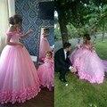 2017 Puffy Pink Vestidos de Quinceañera Princesa Cenicienta Formal Largo Del vestido de Bola del Dulce 16 Prom Vestidos Del Partido Fuera Del Hombro Apliques
