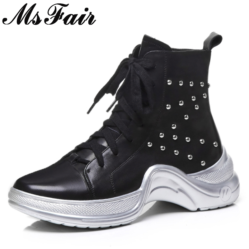 MsFair Round Toe Thick Bottom Women Boots Lace Up Rivet Flat Ankle Boots Women Shoes Genuine Leather Black Boot Shoes For Woman msstor women boots round toe wedges ankle boots women winter shoes thick bottom lace up short plush black boot shoes for woman